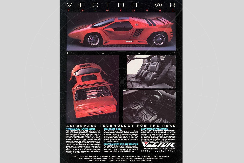 Vector W8 sales brochure Pic: magiccarpics.co.uk   Vector W8 sales brochure