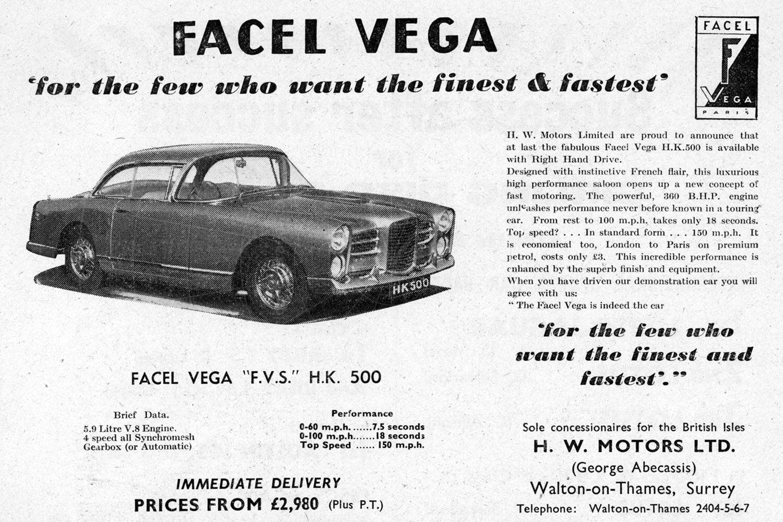 Facel Vega HK500 UK advert Pic: magiccarpics.co.uk | Facel Vega HK500 UK advert