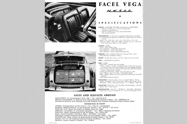 Facel Vega HK500 brochure Pic: magiccarpics.co.uk | Facel Vega HK500 brochure