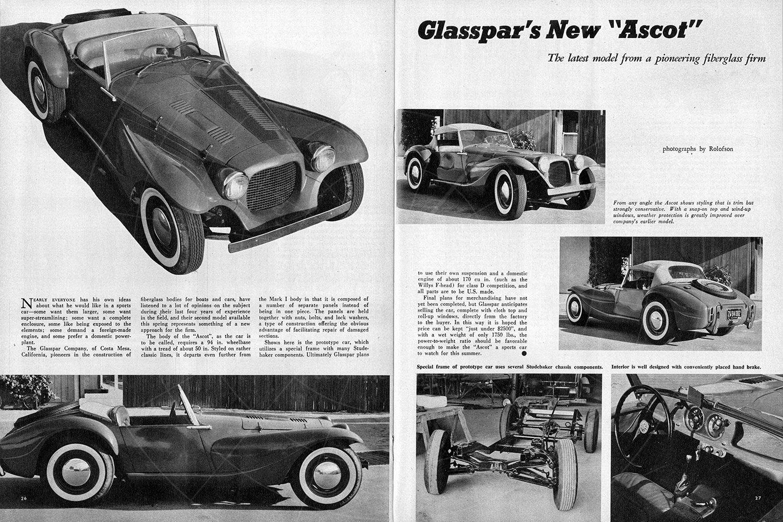 Glasspar Ascot in Road & Track in 1955 Pic: magiccarpics.co.uk | Glasspar Ascot in Road & Track in 1955