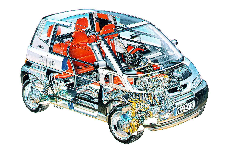Opel Maxx two-door cutaway Pic: GM | Opel Maxx two-door cutaway