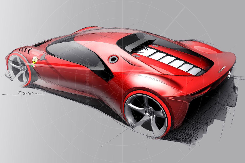 Ferrari P80/C design sketch Pic: Ferrari | Ferrari P80/C design sketch