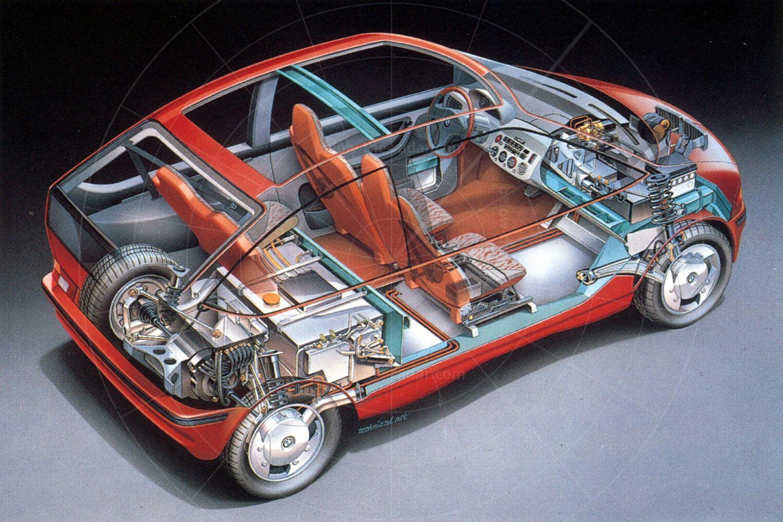 BMW E1 Mk1 cutaway Pic: BMW | BMW E1 Mk1 cutaway